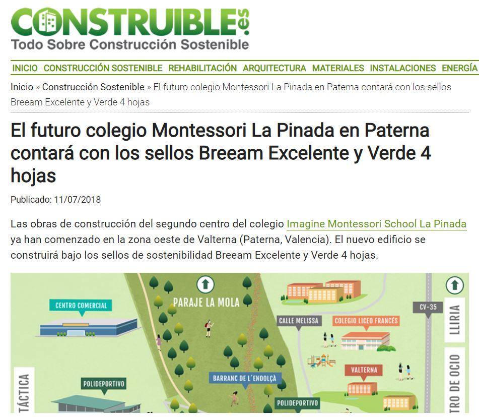 El futuro colegio Imagine Montessori La Pinada contara con sellos Breeam excelente y Verde 4 hojas – Construible