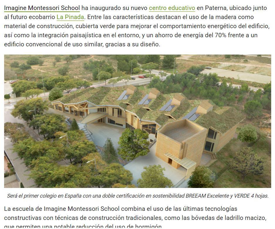 Inauguran la escuela sostenible Imagine Montessori en Paterna que contará con un ahorro energético del 70% – CONSTRUIBLE