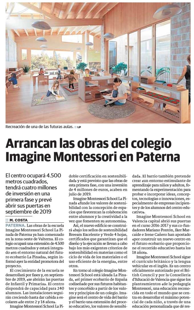 Comienzan las obras de Imagine Montessori School en La Pinada – Las Provincias