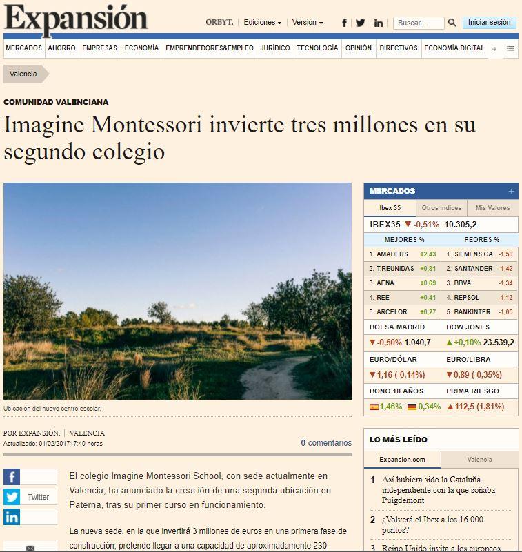 Imagine Montessori invierte tres millones en su segundo colegio – Expansión