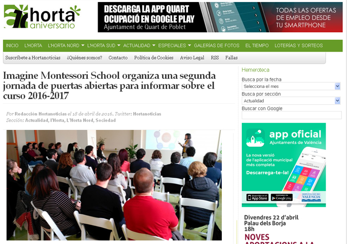 Imagine Montessori School en Hortanoticias