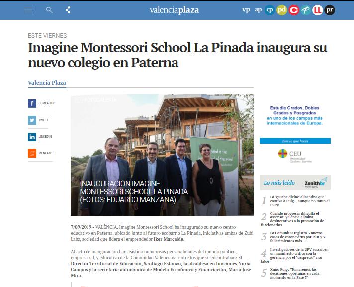 Imagine Montessori School La Pinada inaugura su nuevo colegio en Paterna – VALENCIA PLAZA