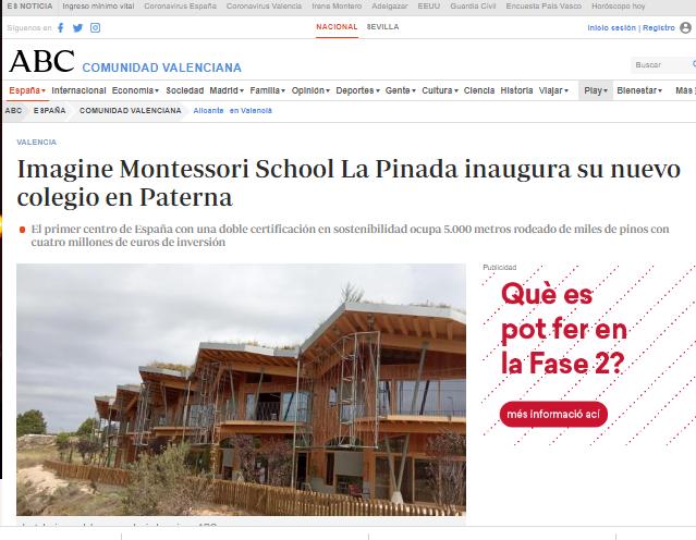 Imagine Montessori School La Pinada inaugura un nuevo colegio en Paterna.