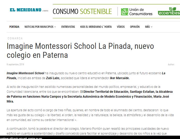 Imagine Montessori School La Pinada, nuevo colegio en Paterna – El Meridiano
