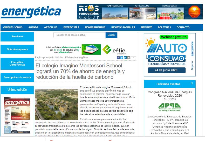El colegio Imagine Montessori School logrará un 70% de ahorro de energía y reducción de la huella de carbono – Energética 21